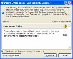 Save excel file Compatibility Checker