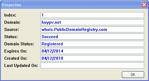 Renewal of domain huypv.net for 3 years